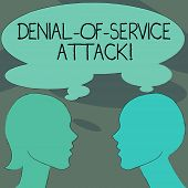 Handwriting Text Denial Of Service Attack. Concept Meaning Attack Meant To Shut Down A Machine Or Ne poster