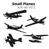 Small Planes Vector Illustration Set. Single Engine Propelled Passenger Aircraft. poster