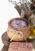 foto of lavender field  - Dry lavender, oils, salt, handwork soap on a wooden board