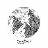 Hand Drawn Image Of A Mountain Peak, Engraving Style, Grunge Textured Vector Illustrations poster