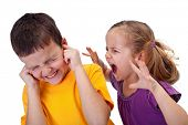 stock photo of mischief  - Little girl shouting in anger to a boy  - JPG