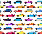 Racing Cars Seamless Pattern, Cartoon Style. Surface Pattern Design For Children Of All Age. Colorfu poster