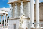 Caryatids Statues On A Porch In The Park. Replica Of Ancient Greek Statues poster