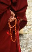 pic of prayer beads  - Monk from Sera monastery in Lhasa Tibet