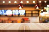 Empty Wooden Table Top With Blurred Coffee Shop Or Restaurant Interior Background. Abstract Backgrou poster