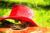 pic of bareback  - Photo with red hat and guitar on the grass - JPG
