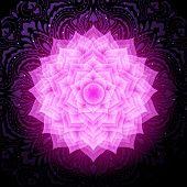 Sahasrara Chakra Colorful Glowing Symbol With Mandala Background. Spiritual Meditation Element Vecto poster
