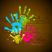 illustration of holi wallpaper with coorful hand prints