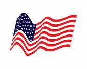 Waving Flag Of The United States. Illustration Of Wavy American Flag For Independence Day. American  poster