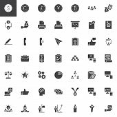 Business And Finance Vector Icons Set, Modern Solid Symbol Collection, Filled Style Pictogram Pack.  poster