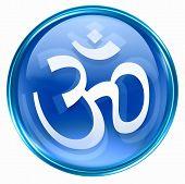 Om Symbol Icon Blue, Isolated On White Background.