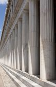 Long row of columns at Stoa Of Attalos, Athens.
