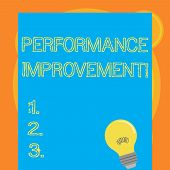 Writing Note Showing Perforanalysisce Improvement. Business Photo Showcasing Improve Productivity En poster
