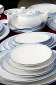 A lot of dinnerware displaying for sale
