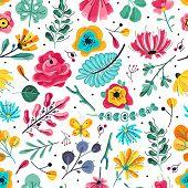 Floral Seamless Pattern. Spring Summer Garden Colorful Flowers Botanical Floral Flower And Leaf Vint poster