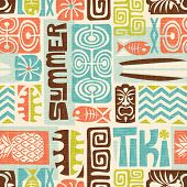 Seamless Exotic Tiki Pattern. Use for wallpaper, fabric patterns, backgrounds. Vector illustration poster