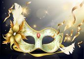 Womens Carnival Mask Decorated With Feather, Flower And Gems 3d Realistic Vector Illustration. Venet poster