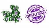 Vector Collage Of Grape Wine Map Of Castile-la Mancha Province And Purple Grunge Seal For Premium Wi poster