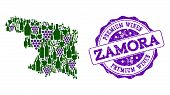 Vector Collage Of Grape Wine Map Of Zamora Province And Purple Grunge Seal Stamp For Premium Wines A poster