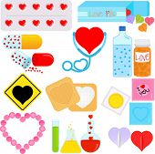 Products and Packages with a shape of heart, conceptual for romance