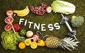 Fitness Food and green grass