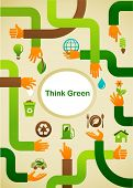 Ecology - Think green background with hands and graphic symbols
