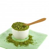 Japanese Matcha green powder tea in cup