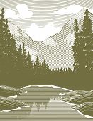 Woodcut Wilderness River Scene