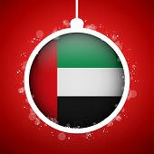 Merry Christmas Red Ball With Flag Emirates