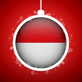 Merry Christmas Red Ball With Flag Monaco