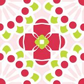 Rose and Chartreuse Floral Kaleidoscope Pattern