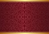 image of symmetrical  - maroon and gold background with ornaments  - JPG