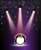 A cute cartoon penguin in earmuffs, with winter theme background of snow and stars. EPS10 vector for