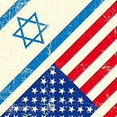 foto of israel people  - Israel and american grunge flag - JPG