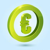 Green euro symbol isolated on blue background