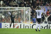 VALENCIA - NOVEMBER 20: Sofiane Feghouli celebrating his goal during UEFA Champions League match bet