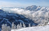 stock photo of snowbird  - Mountains view from summit of Snowbird skiing resort Utah - JPG