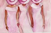 image of diva  - This is an illustration of three black women praying and holding hands while wearing breast cancer ribbons - JPG