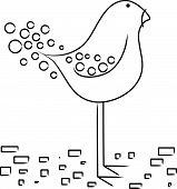 Vector cartoon cute long legged bird design