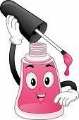 Mascot Illustration of a Bottle of Nail Polish About to Paint Itself