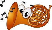 Mascot Illustration Featuring Musical Notes Coming from the Mouth of a French Horn