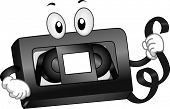 Mascot Illustration of a VHS Tape Holding a Strip of Magnetic Tape