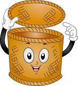Mascot Illustration of a Basket Bin Pointing to Itself