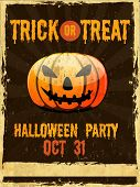 Flyer, poster or banner for Trick or Treat Halloween Party on grungy background with scary pumpkin.