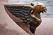 Griffin - Bronze Winged Lion On The University Embankment In Front Of The Academy Of Arts. St. Peter