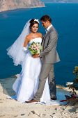 image of promontory  - The bride and groom standing on a promontory on the sea background - JPG
