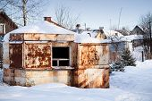 Small Old Abandoned Rusted Market In Winter Russian Village