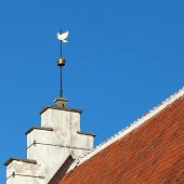 Vintage Golden Dove Weather Vane Above Blue Sky. Old Part Of Tallinn, Estonia