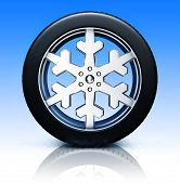 snow tire with snowflake hubcap