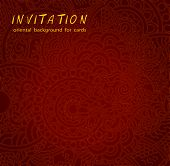 image of brocade  - Red oriental background for cards with dragon and pearl - JPG